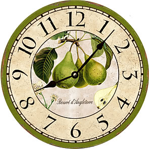 http://www.mdallascompany.com/Images/Large%20View%20Images/French_Botanical_Pears_Green_Wall_clock.jpg