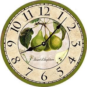 french botanical green pears kitchen wall clock - Kitchen Wall Clocks