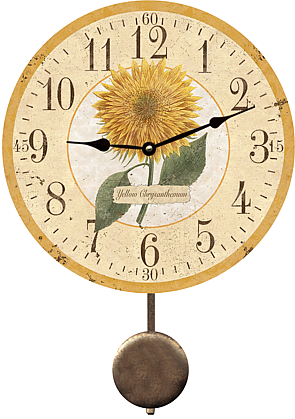 Yellow Chrysanthemum Kitchen Wall Clock Country Home Decor
