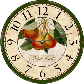 French Botanical Country Pears Wall Clock